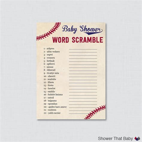 scrabble word scramble baseball baby shower word scramble printable instant