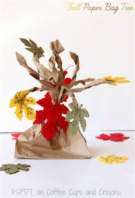 paper bag tree craft fall paper bag tree coffee cups and crayons