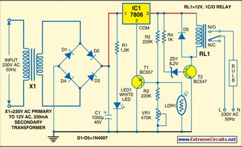 light controller schematic automatic light controller using 7806 circuit diagram