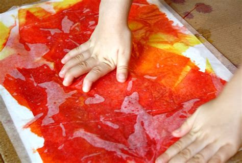 tissue paper arts and crafts for tissue paper fall tree craft