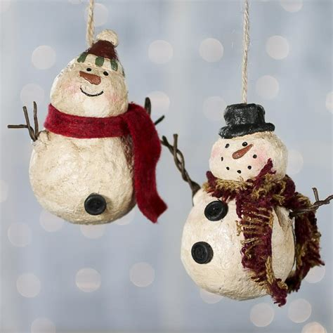 country snowman ornaments primitive paper clay snowman ornament and