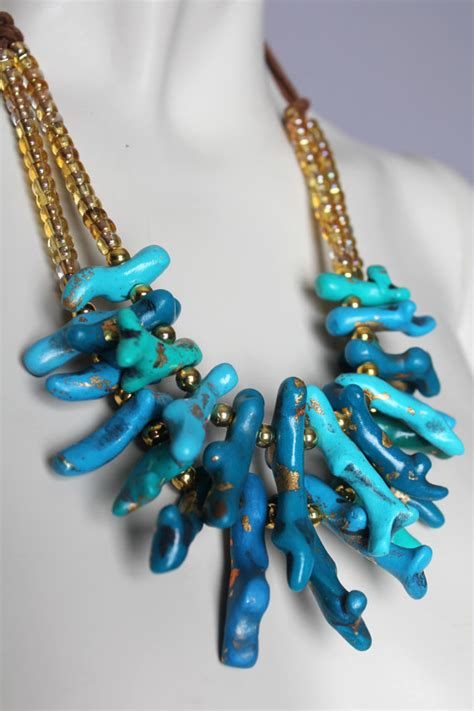 handmade bead necklace chunky turquoise coral necklace handmade clay blue