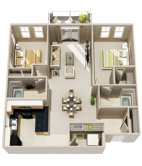 in apartment house plans best 25 2 bedroom apartments ideas on two