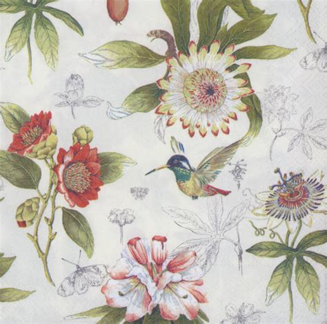 decoupage paper flowers decoupage paper napkins of flowers and hummingbird