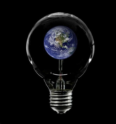 with the light incandescent lightbulb with the planet earth inside