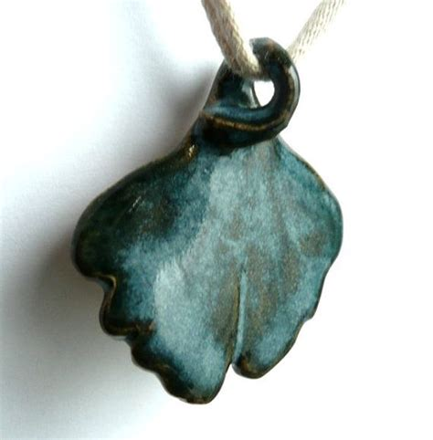 ceramic for jewelry ceramic jewelry pendant for necklace stoneware ginkgo