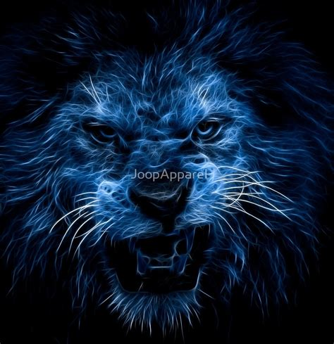 Cat Wall Stickers quot blue neon lion quot by joopapparel redbubble