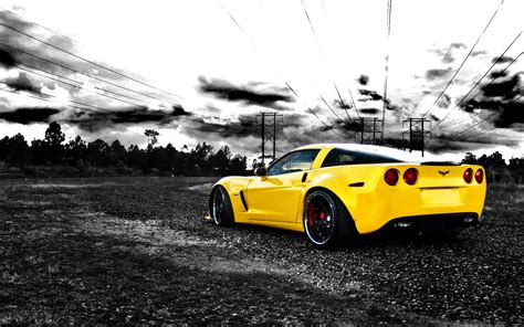 Wallpaper Car Yellow by Cars Vehicles Chevrolet Corvette Selective Coloring