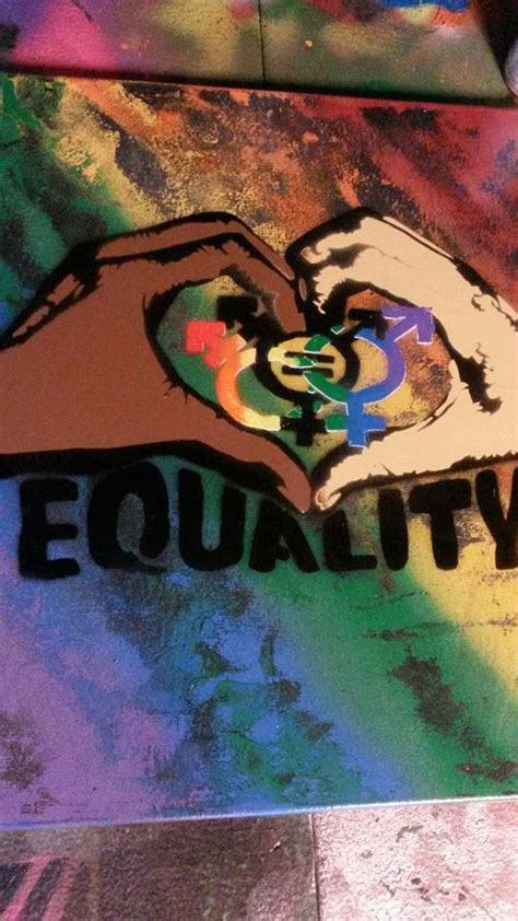 show about painting equality spray paint on 16x20 canvas rainbow by