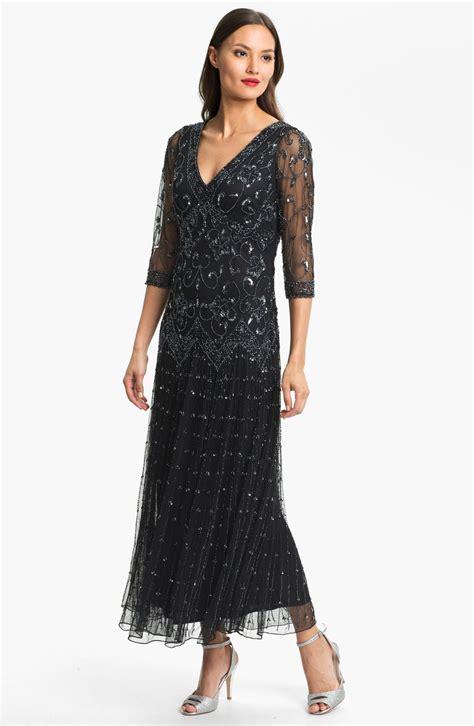 pisarro nights beaded dress pisarro nights beaded mesh dress in black black gunmetal