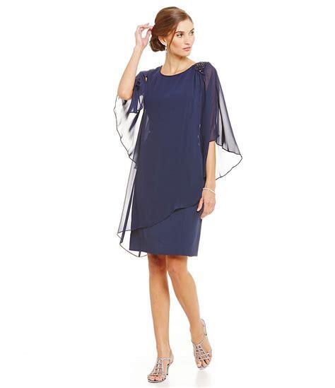 S L Fashions Asymmetrical Capelet Bead Trim Dress Dillards