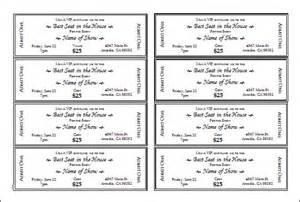 ticket templates free sample templates
