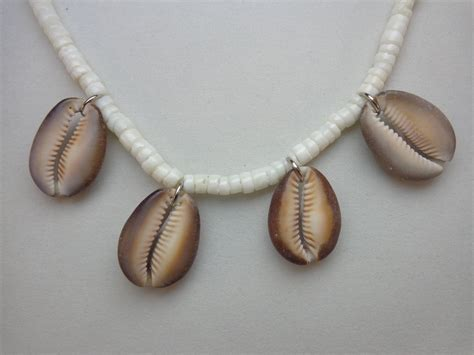 shells for jewelry crafted cowrie shell necklace mens or womens jewelry