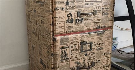 newspaper decoupage file cabinet upcycle with wrapping paper hometalk