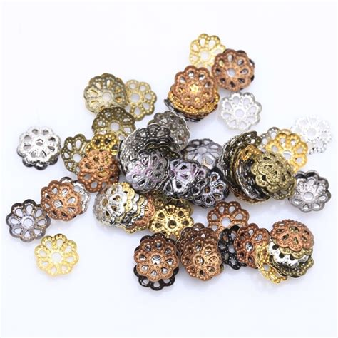bead findings 500pcs silver gold plated metal flower bead caps 6mm