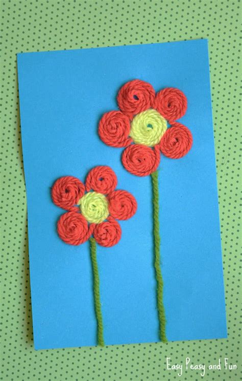 and crafts for yarn flower craft easy peasy and