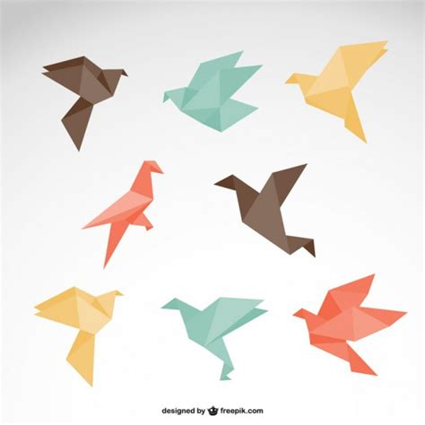 origami quail origami birds collection vector free