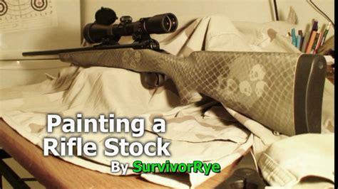 spray painting rifle painting a rifle stock camo with skulls