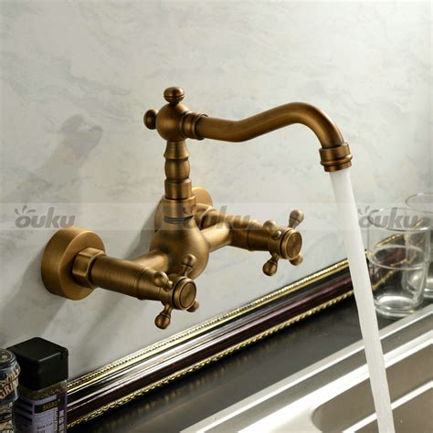 antique brass kitchen faucets antique inspired kitchen faucet wall mount antique brass