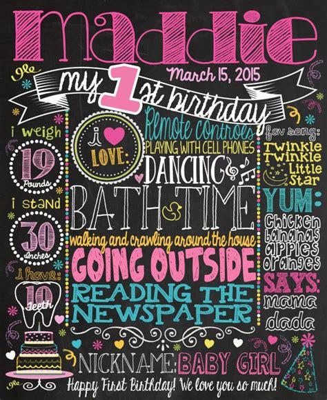 diy chalkboard milestone chalkboard birthday sign poster for 1st birthday parry
