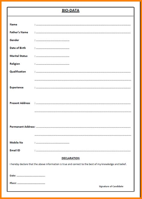 11 job application letter with biodata ledger paper