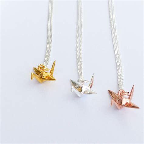 origami crane necklace sterling silver origami crane necklace by evy designs