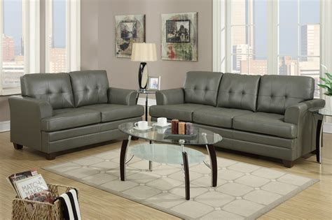 leather sofa and loveseat sets poundex f7774 grey leather sofa and loveseat set a