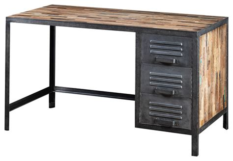 industrial computer desk locker style desk made of recycled wood and industrial