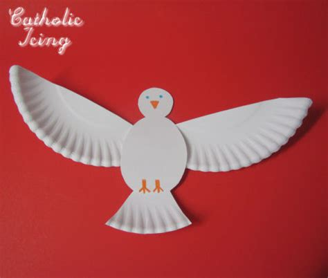 dove craft for holy spirit craft make a dove from a paper plate