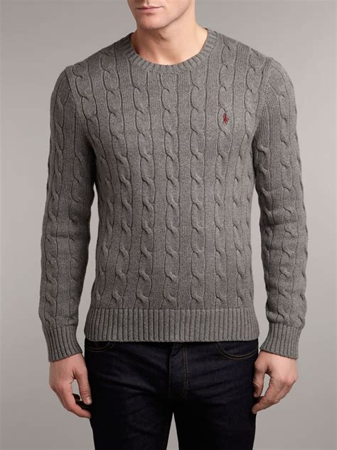 cable knit ralph sweater polo ralph classic cable knit crew neck jumper in