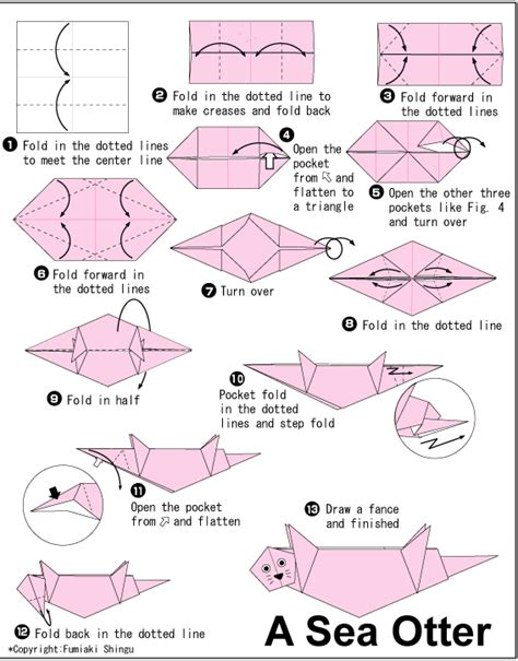 otter origami origami otter loutres otters