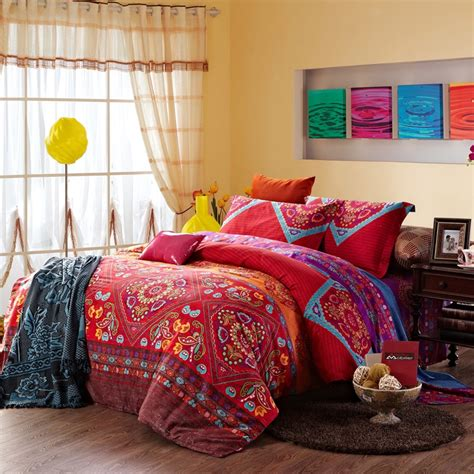indian bedding set and colorful vintage indian style tribal print