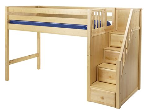 mid high bunk beds maxtrix mid loft bed w staircase on end