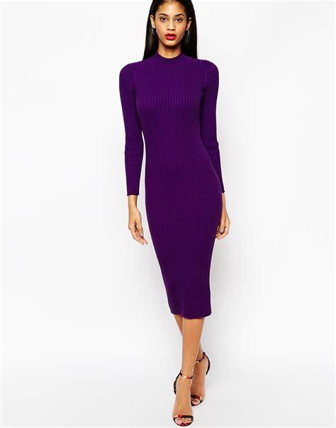 knit midi dress asos midi dress in rib knit with turtle neck in purple lyst