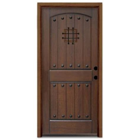 wood front doors home depot steves sons rustic 2 panel plank prefinished mahogany