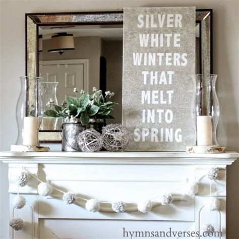 winter home decorating ideas winter mantel and winter shelf decorating ideas