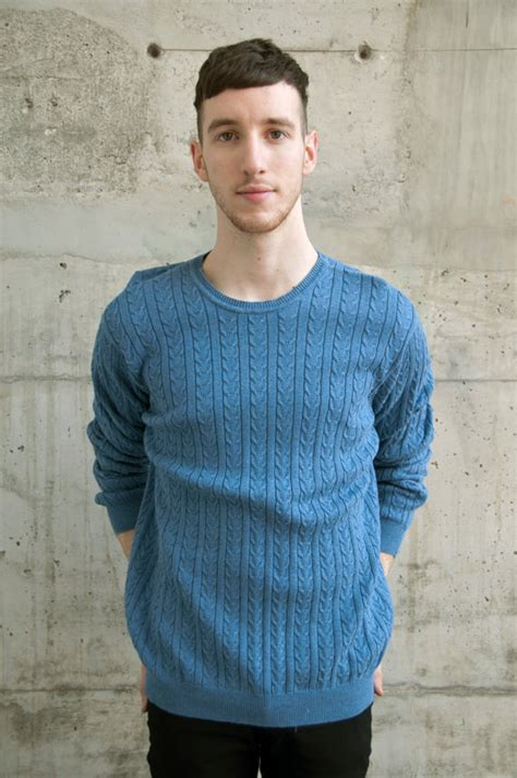 Cable Knit Blue Sweater Vintage Jumper Cozy Oversized