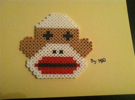 monkey pony bead pattern perler bead sock monkey bead it just bead it