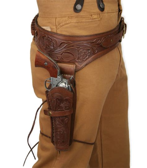 leather gun belt and holster 44 45 cal western gun belt and holster rh draw chocolate brown tooled leather