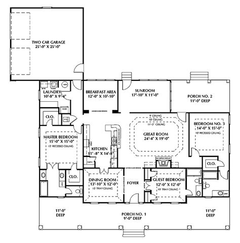one story floor plans with two master suites one story house plans with two master suites
