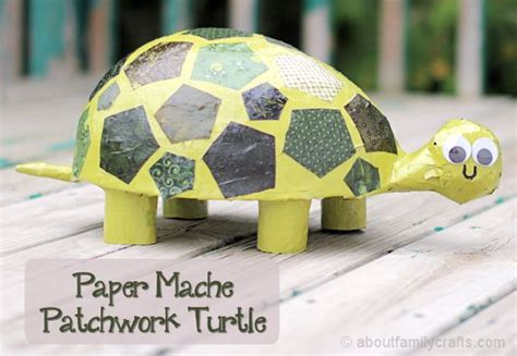 craft paper mache paper mache patchwork turtle about family crafts