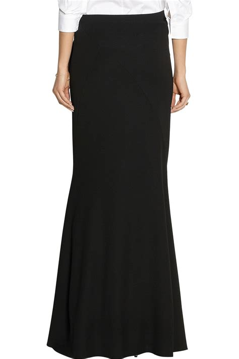 black knit maxi skirt donna karan modern icons ruffled stretch knit maxi skirt