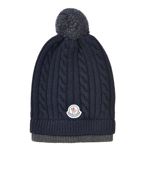 how to knit a cable beanie moncler cable knit wool beanie hat in blue for lyst