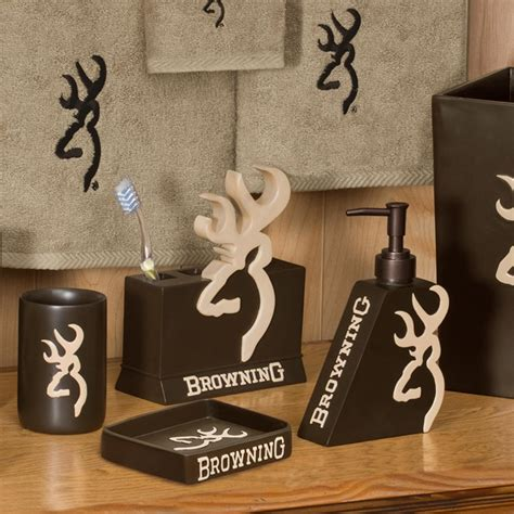 browning bathroom accessories browning buckmark shower curtain and accessories cabin place
