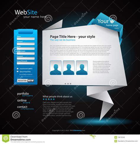 origami website origami website design for business stock vector