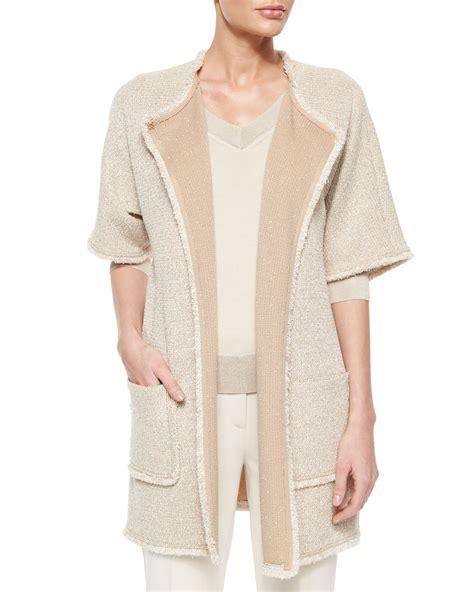 st knit jacket st mini paper eyelash tweed knit jacket in beige lyst
