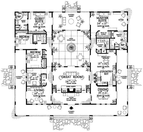 floor plans with courtyard open courtyard house plan hunters