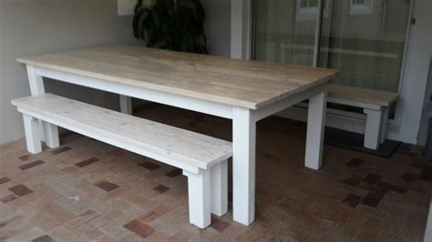 pine outdoor furniture pine patio dining table two benches in white wash stain