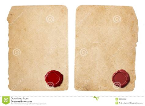 sealing paper parchment letter set with wax seal stock photo