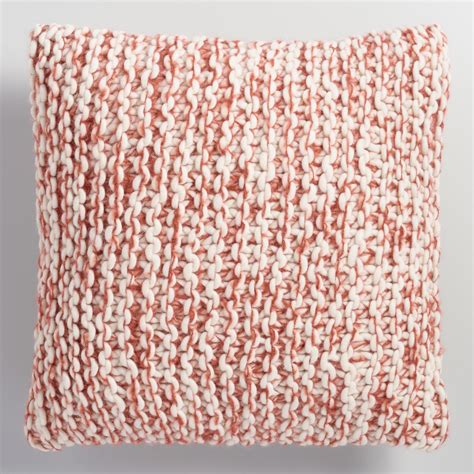 knit throw pillow rust and ivory chunky knit throw pillow world market